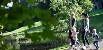 People walking in Hardwick Park