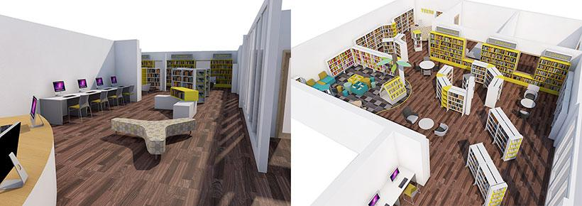 Artist impression of the new library within the leisure centre.
