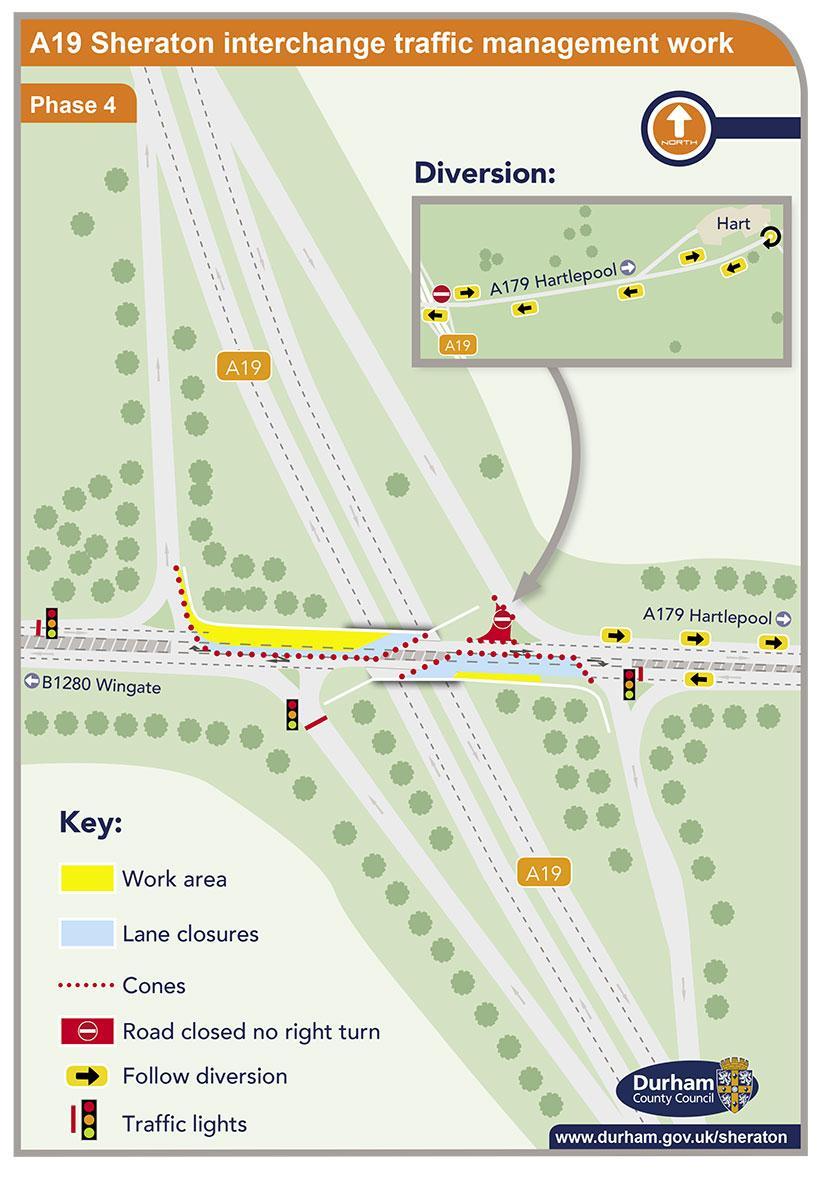 A19 Sheraton interchange traffic management work - phase 4