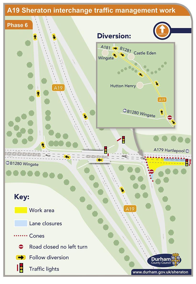 A19 Sheraton interchange traffic management work - phase 6