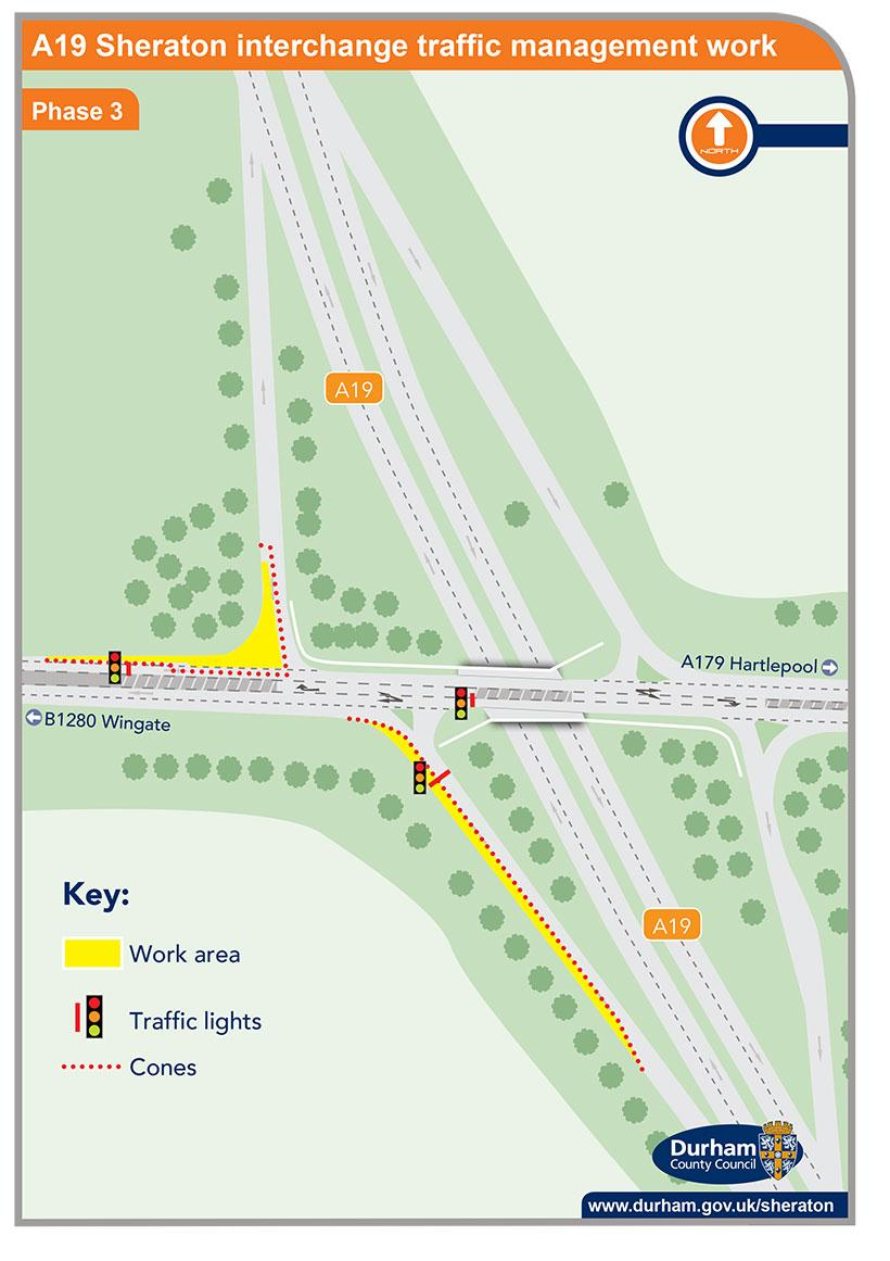 A19 Sheraton interchange traffic management work - phase 3