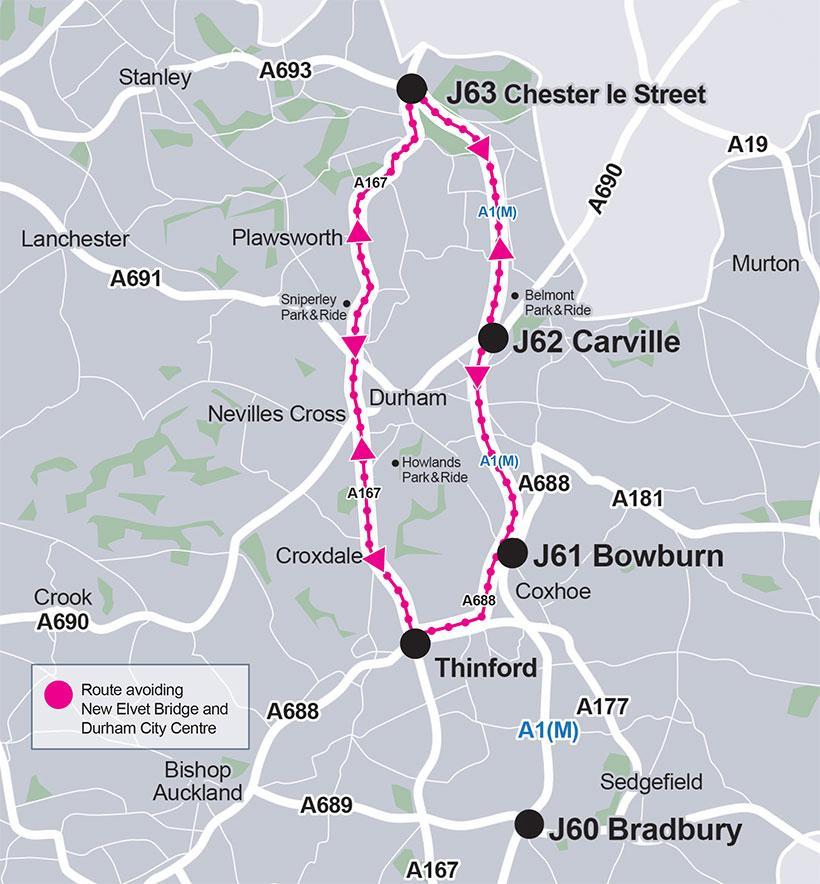 Alternative route avoiding Durham City during New Elvet Bridge closure