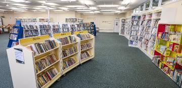Image of shelves in a library