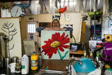 Person with picture of a flower
