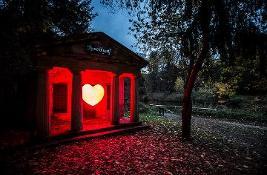 Hut with illuminated heart