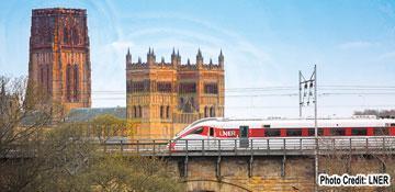 Azuma crossing Durham viaduct (Photo Credit: LNER)