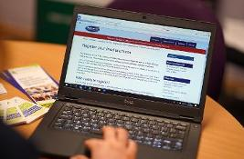 Computer showing website