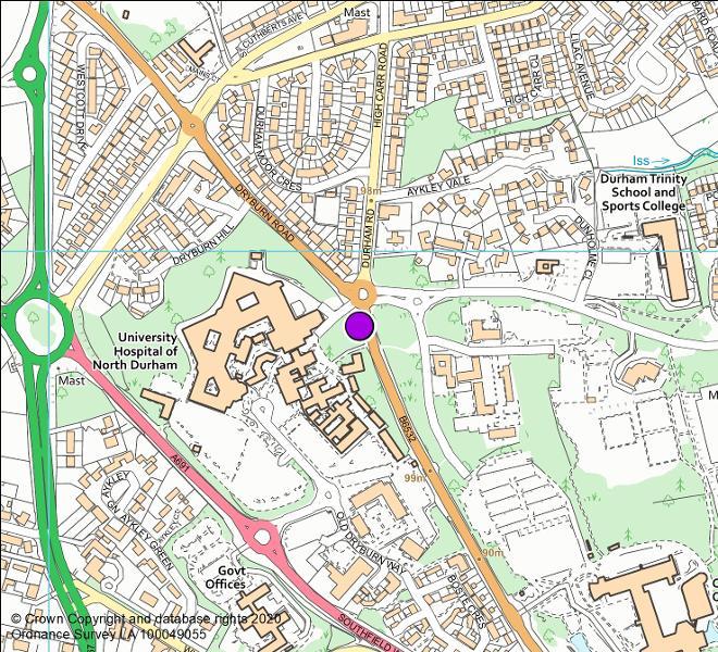 B6532 Aykley Heads roundabout camera location map