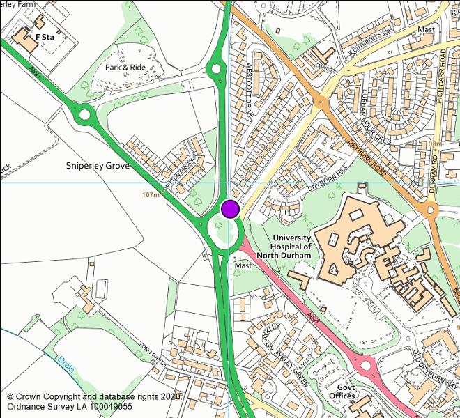 A167/A691 Sniperley roundabout camera location map