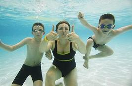 Woman and children swimming