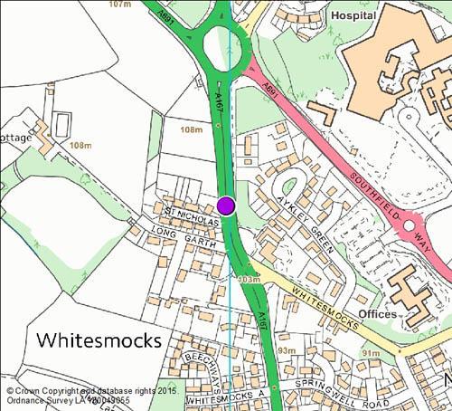 Sniperley Roundabout Whitesmocks camera location map