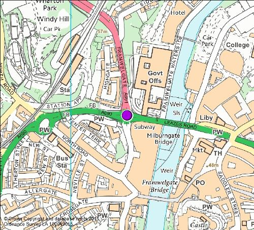 Milburngate roundabout camera location map